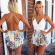 Sexy Sling V-Neck Lace Flower Printing One Piece pants Jumpsuit&Romper