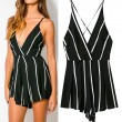 Stripe Backless Halter Sexy Braces One Piece Romper&Jumpsuit