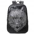 La tête de loup féroce d'unité centrale punk rivets grand sac à dos 3D d'école animale