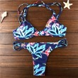 Print Bikini Leaves Bandage Triangle Swimsuits Bikini Set For Wonman