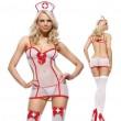 Costume Sexy Tentation Tenue d'infirmière Cosplay Voir à travers une lingerie