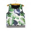 Fashion Leaf Print Sleeveless T-shirt Women's Summer Vest
