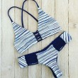 Fashion Stripe Cross Straps Bikini Swimsuit Swimwear Bathingsuit