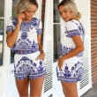 Retro Blue Porcelain Floral Printing Shorts Two Sets