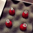 Creative Red Pearl Alphabet Diamond Silver Earrings Studs