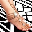 Gouttelettes d'eau vintage strass pieds accessoire cheville frangée alliage plage femmes cheville