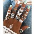 Vintage papillon éléphant plume feuilles 12 pièces ensemble combinaison femmes anneaux