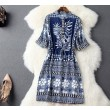 Folk Style Collar Single-breasted Drawstring Waist Dress Party Dress