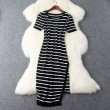 New Women Slim Irregular Black And White Stripes Dress &Party Dress