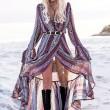 Manches longues pour femmes, impression de la jupe ample de style national