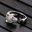 Anneau ouvert ouvert en forme de diamant avec léopard argenté au design unique