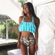 New Ruffle taille haute maillot de bain fleur Sling femmes Bikinis d'été
