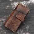 Loisirs Original fait à la main longue couture portefeuille en cuir véritable sac à main vintage Pochette