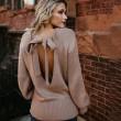 Manches longues dos de la mode des femmes tricoter lâche long pull en laine