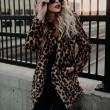Revers sexy léopard fausse fourrure épaississent automne hiver femmes manteau