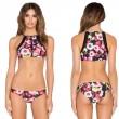 Flower Print Bikini Push-up Mesh Swimsuits Bikini Set