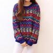 Vintage Folk Style Geometry Zigzag Loose Sweater