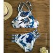 Ensemble De Bikini Imprimé Fleurs De La Forêt Et Des Fleurs Nouveau Maillot De Bain Bleu