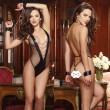 Cadeau de prisonnier chaîne sexy noir siamois Menottes Lingerie Femme