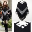 Cloak Cappa Batwing Sleeve Tassel Loose Sweater