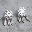 Retro Dream Catcher Feather Folk Tassel Silver Girl's Hollowed-out Earring Studs