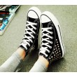 Punk style Rivet Haut-dessus Toile Chaussures