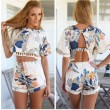 Round Neck Hollow Backless Floral Tow Pieces Suits Jumpsuit