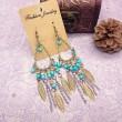 bohémien Populaire Bronze Feuilles Chain Tassel perlée Boucles d'oreilles