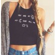 Sexy Halter Blackless Round Neck Letters Printed Vest