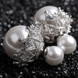 Boucles d'oreille amphibies pour femmes avec perles brillantes et bordures de diamants