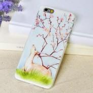 Frais Art Cerf prune Une fleur Le soulagement Doux IPhone 5 / 5s / 6 / 6p Cas
