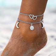 Mode soleil amour coeur lune simple plage en alliage chaîne deux couches femmes cheville