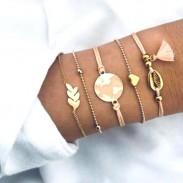 Bracelet mignon carte goutte à goutte rose pompon chaîne Explosion corde feuille 5 pièces ensemble Bracelet