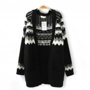 Black Geometric Jacquard Long Cardigan Sweater