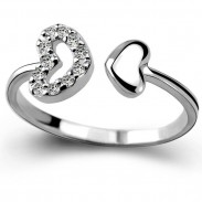 Romantic Lover Ring Double Heart Couple Silver Zircon Open Ring