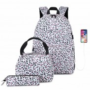 Sac à dos léopard unique pour adolescent avec port de charge USB Sac à main léopard léger Étui à crayons Ensemble de 3 pièces Sac d'école étanche Sac à dos étudiant