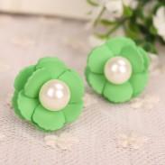 Belle couleur douce sucrerie Perle Fleur Boucles d'oreilles