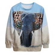 Cute 3D Elephant Gradient Printing Sweatshirts