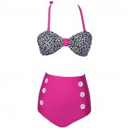 Dot Pattern High Waist Button Bikini Swimsuit