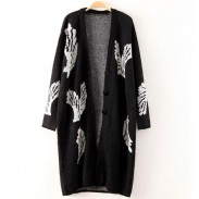 Fashion Big Wings Black Long Cardigan Coat
