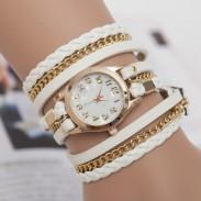 Mode chaîne en métal cuir tressé trois tours Montre-bracelet