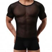 Sexy Engrener Voir Par Entier Couleur Zéphyr sport T-shirt Hommes Lingerie