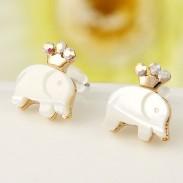 mignon Couronne l'éléphant Swan Boucles d'oreilles animaux