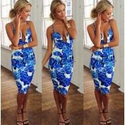 Nouveau Mode Sexy V profond Floral Impression Bleu Robe