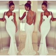Gracieux Dos nu Robe longue Femmes Gilet Robe