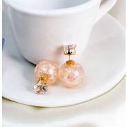 Personnalité Transparent Verre Crépiter perles Cristal Balle Boucles d'oreilles