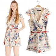 Pastoral Floral Printed V-neck  Jumpsuit