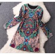 Retro Imprimer Tempérament laine à manches longues Robe