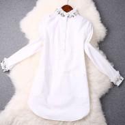 Mode décolleté perlé élégant Blanc Robe Chemise