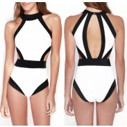 Triangle Sexy Crop Top Bikinis Set Contrast Color Swimwear Beach Bathing Suit